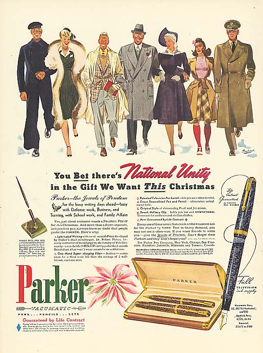 Image for National Unity in Xmas Gift we want Parker Pen ad 1941