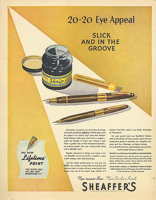 20-20 Eye Appeal Sheaffer's pen & ink ad 1945
