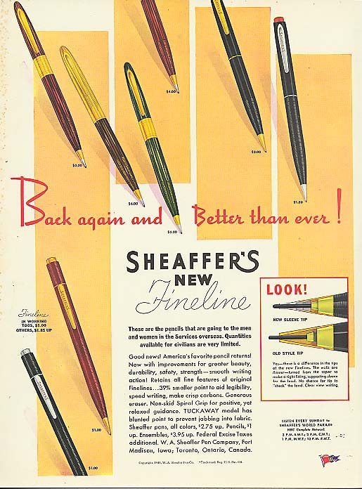 Better than ever Sheaffer's Fineline pencil ad 1945