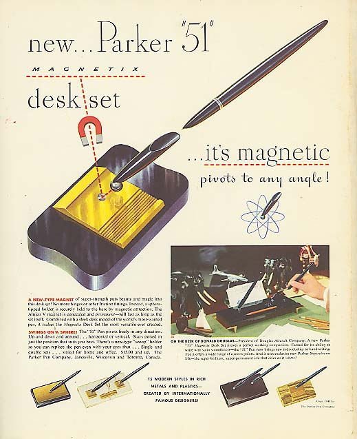 Image for New Parker 51 Magnetix Pen Desk Set ad 1947