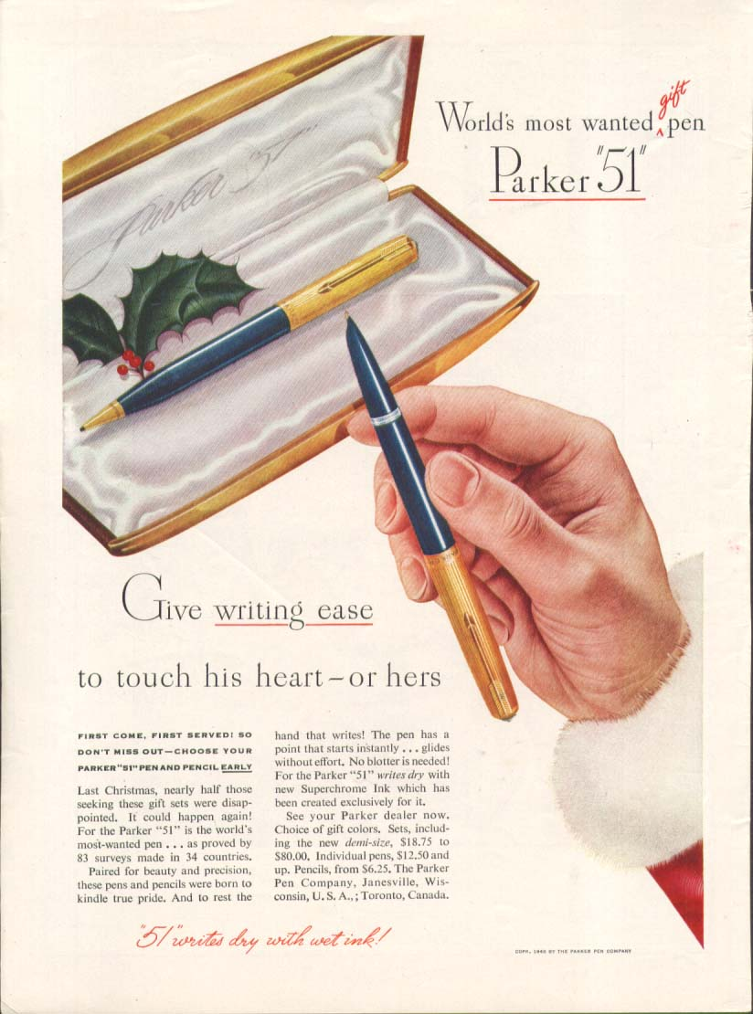 Give writing ease Parker 51 pen ad Santa's hand
