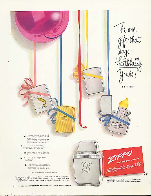 Goft says Faithfully Yours Zippo Lighter ad 1949