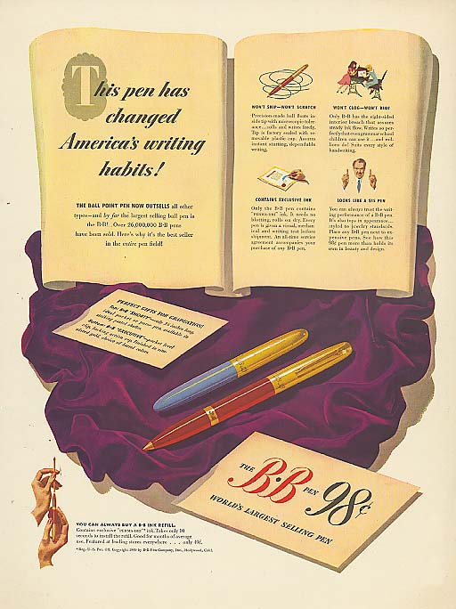 Changed America's Writing Habits B-B pen 98c ad 1949