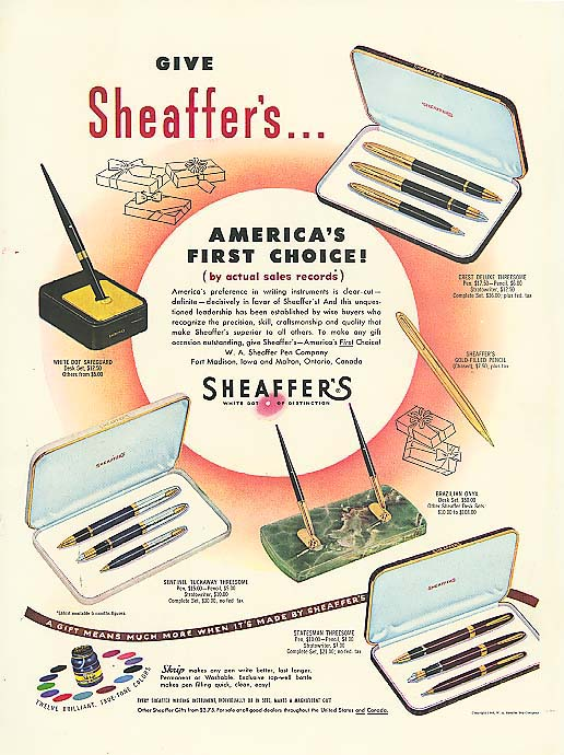 America's 1st Choice Sheaffer's pen & desk set ad 1949