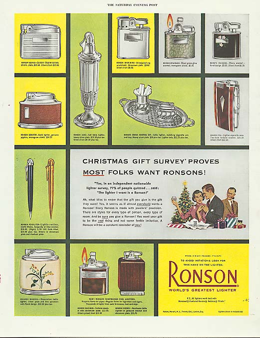 Christmas Giuft Survey Proves Ronson Lighter ad 1952