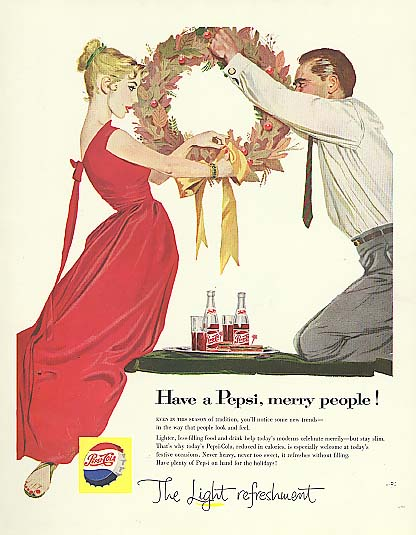 Have a Pepsi, merry people Pepsi-Cola ad 1957 blonde red dress Christmas wreath