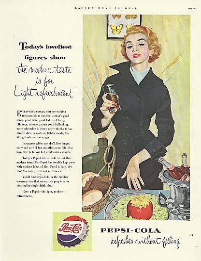 Image for Today's loveliest figures Pepsi-Cola ad 1953 redhead in black suit