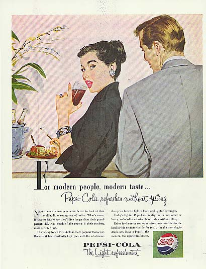 For modern people modern taste Pepsi-Cola gal with cigarette holder ad 1953