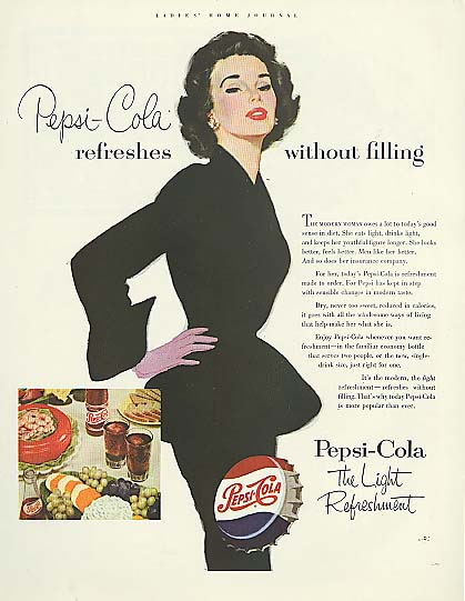 Image for Pepsi-Cola refreshes without filling ad 1953 slim woman black dress
