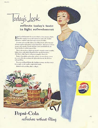 Image for Today's Look Pepsi-Cola ad 1954 sheath dress big hat redhead