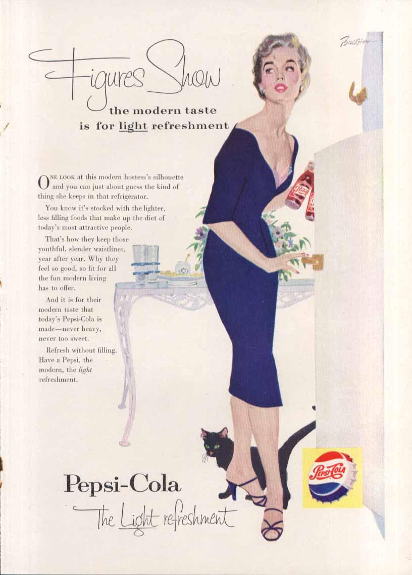 Image for Pepsi Figures Show the modern taste black cat ad 1955
