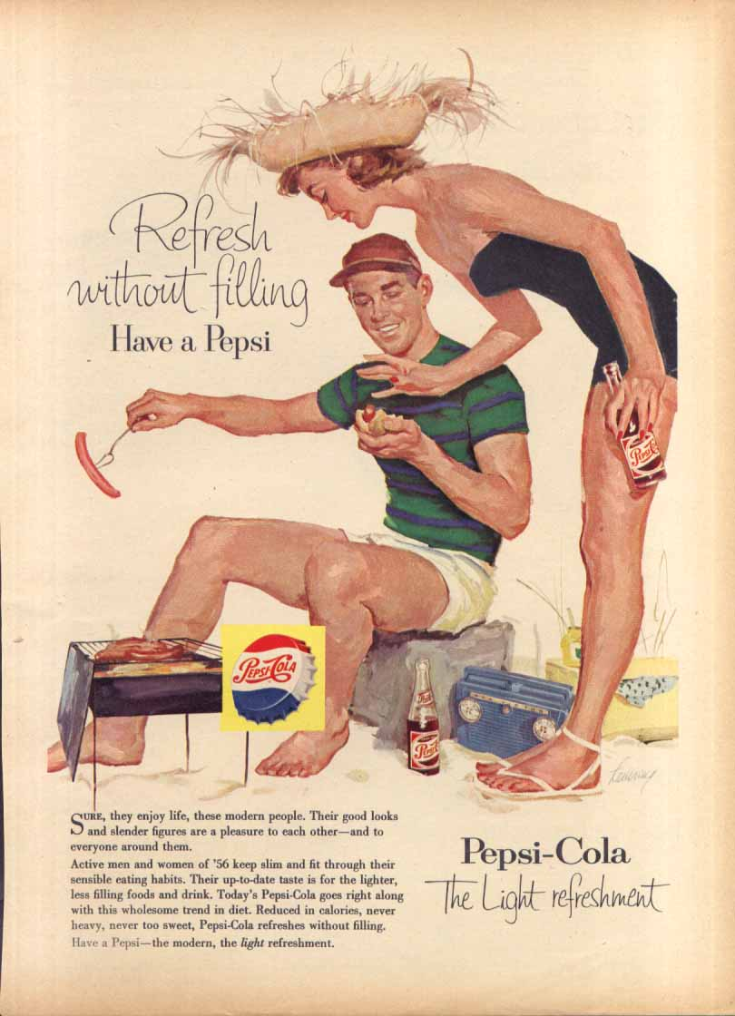 Image for Pepsi Refresh without filling hot dogs at beach ad 1956
