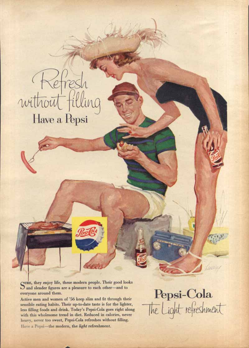 Image for Pepsi Refresh without filling hot dogs at beach ad 1956 Family Circle