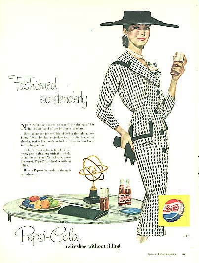 Image for Fashioned so slenderly Pepsi-Cola ad 1956 checked suit big hat pearls