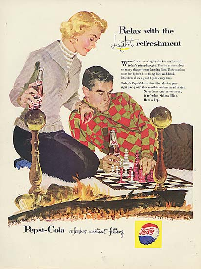 Image for Relax with Light refreshment Pepsi-Cola ad 1957 blonde slacks chess fireplace