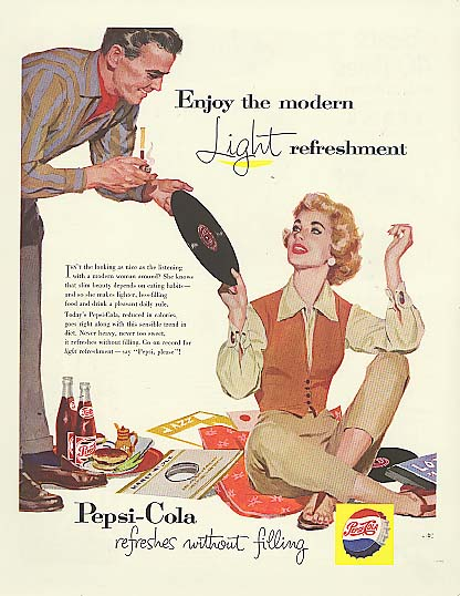 Enjoy the modern Light refreshment Pepsi-Cola ad 1957 redhead jazz records pants