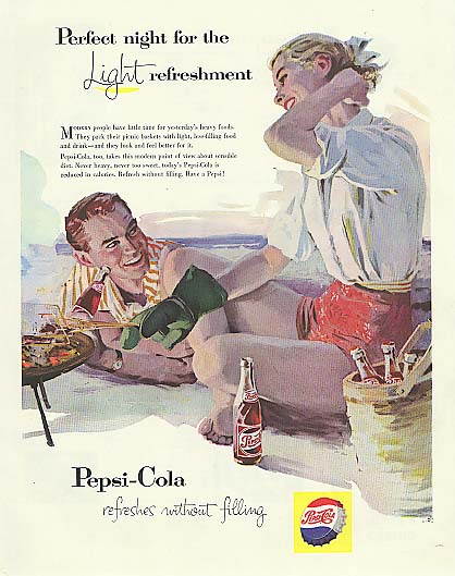 Image for Perfect night for Light refreshment short shorts blonde beach Pepsi-Cola ad 1957