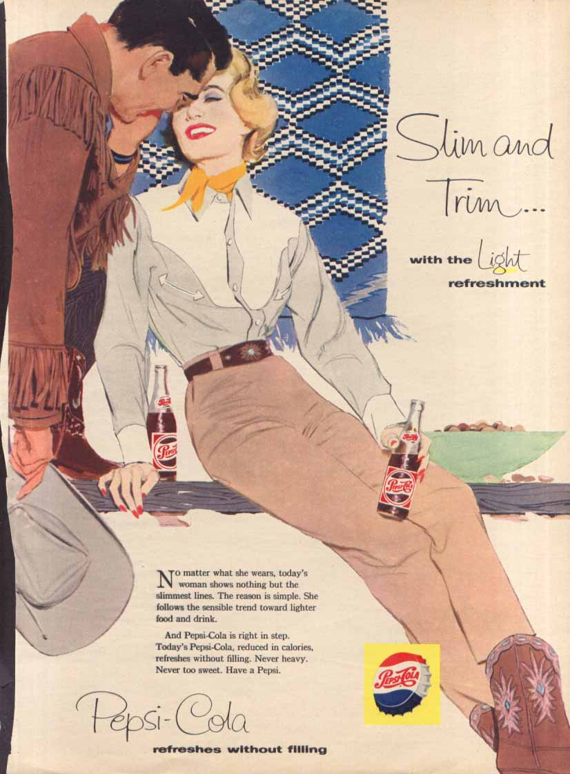 Image for Pepsi Slim and Trim cowboy cowgirl couple ad 1958