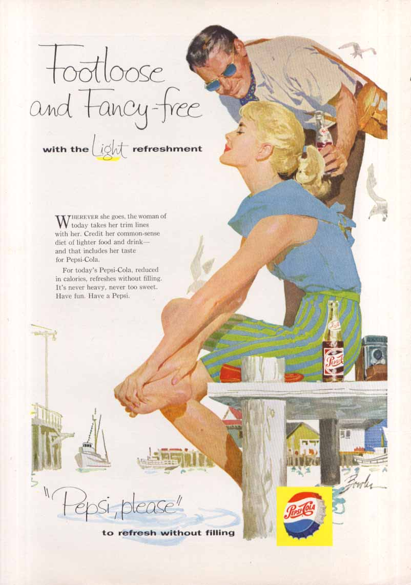 Image for Pepsi Footloose and Fancy-free summer harbor ad 1958