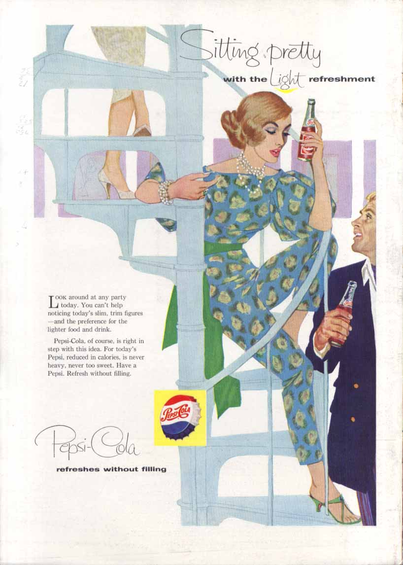 Image for Pepsi Sitting pretty spiral staircase ad 1958