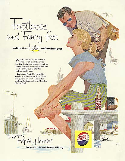 Footloose & fancy free blonde on dock Pepsi-Cola ad 1958 Joe Bowler art