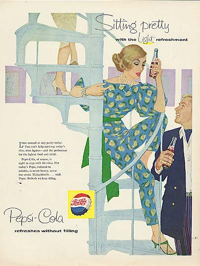 Image for Sitting pretty with the Light refreshment blonde pantsuit Pepsi-Cola ad 1958