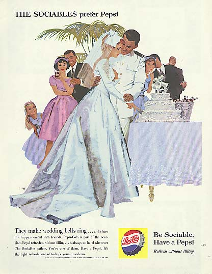 Image for The Sociables make wedding bells ring cutting cake Pepsi-Cola ad 1960