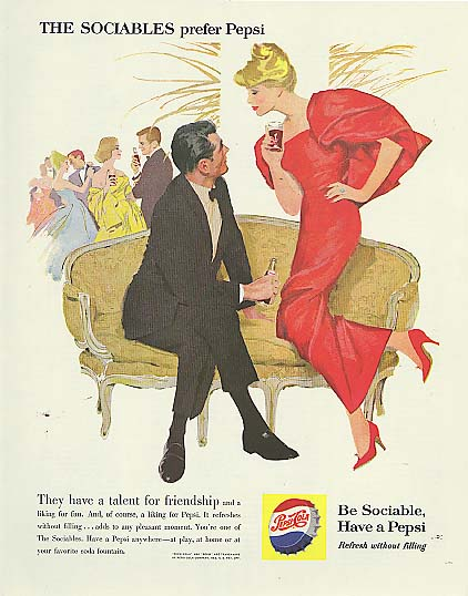Image for The Sociables have talent for friendship cocktail party blond Pepsi-Cola ad 1960