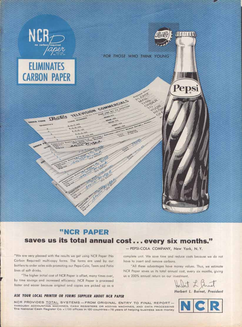 Image for Pepsi NCR Paper ad 1962