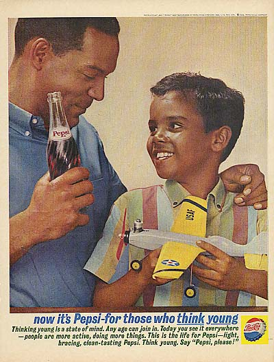 For Those who think young Pepsi-Cola ad 1962 Negro Dad & son with RC plane