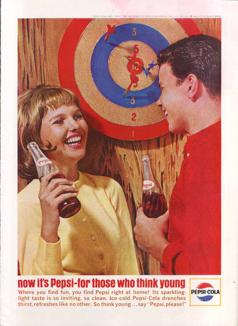 Image for Pepsi for those who think young dart board ad 1964
