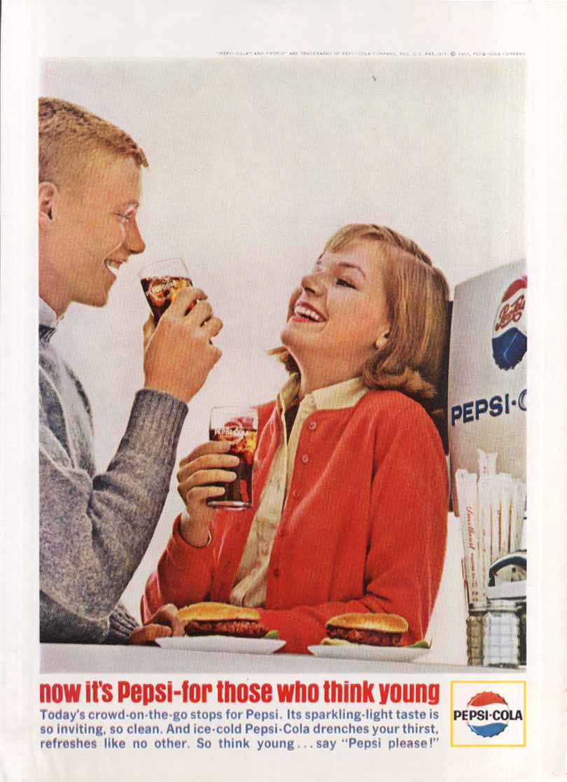 Image for Pepsi for those who think young hamburger stand ad 1964