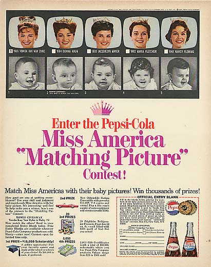 Image for Miss America Matching Picture Contest Pepsi-Cola ad 1965