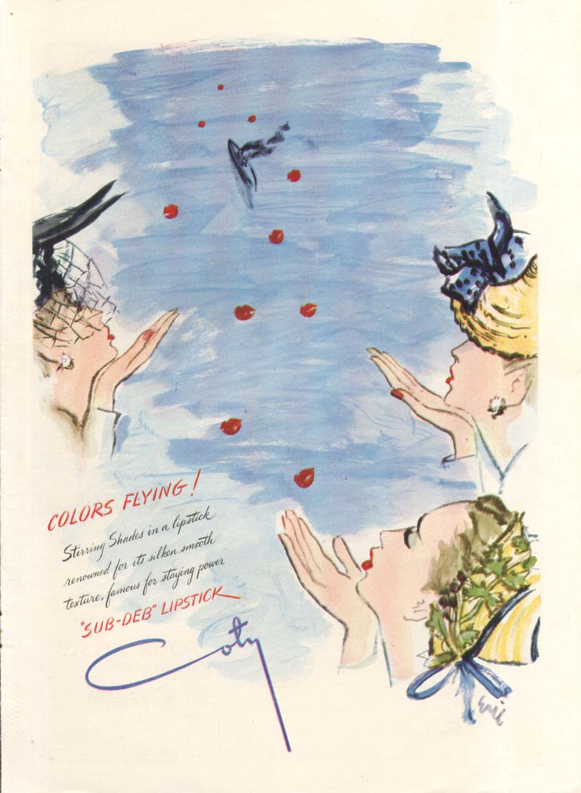 Image for Colors Flying! Sub-Deb Lipstick Coty ad 1944 Eric