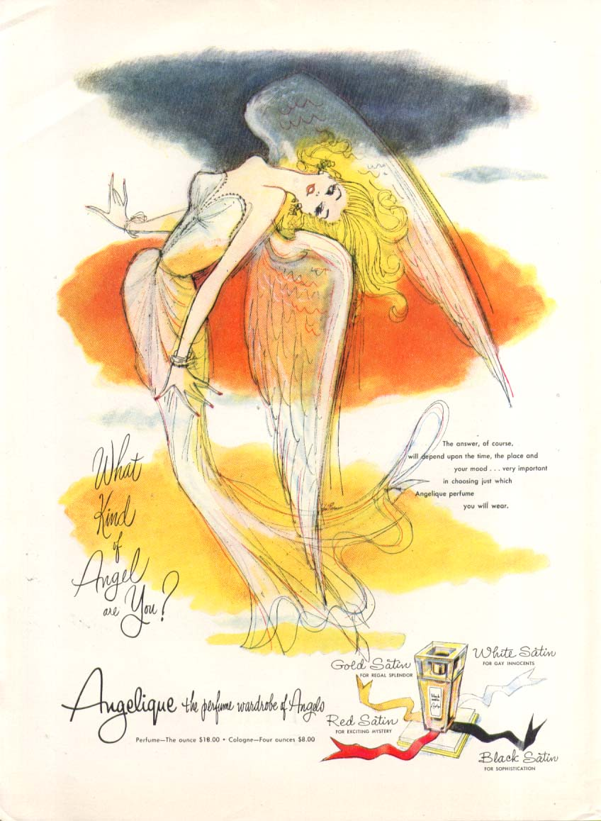 Image for What kind angel are you? Angelique perfume ad 1955 one