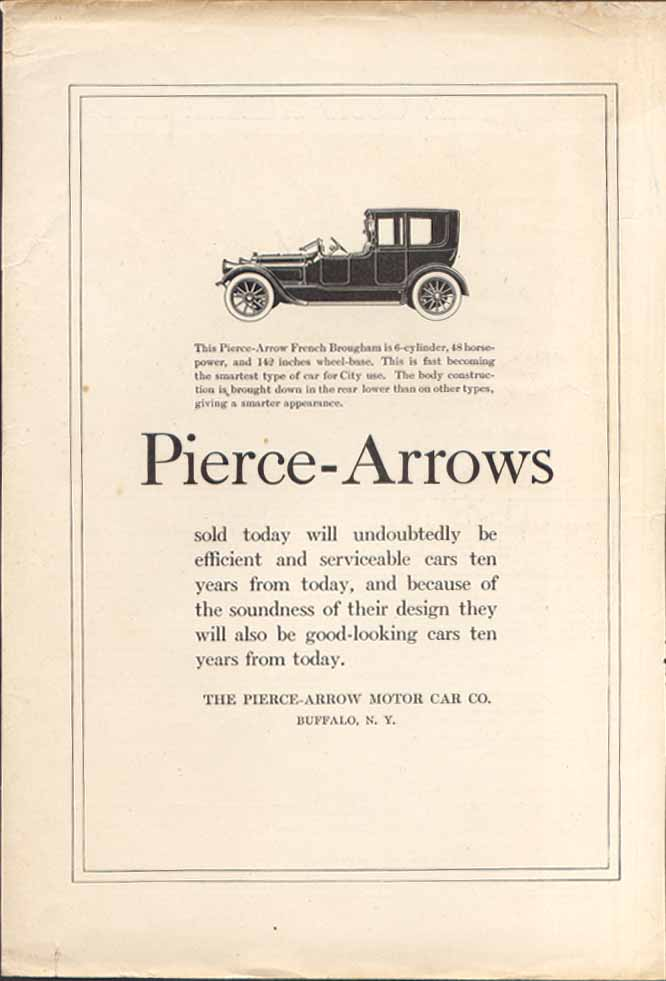 Image for The Pierce-Arrow French Brougham 6-cylinder ad 1918