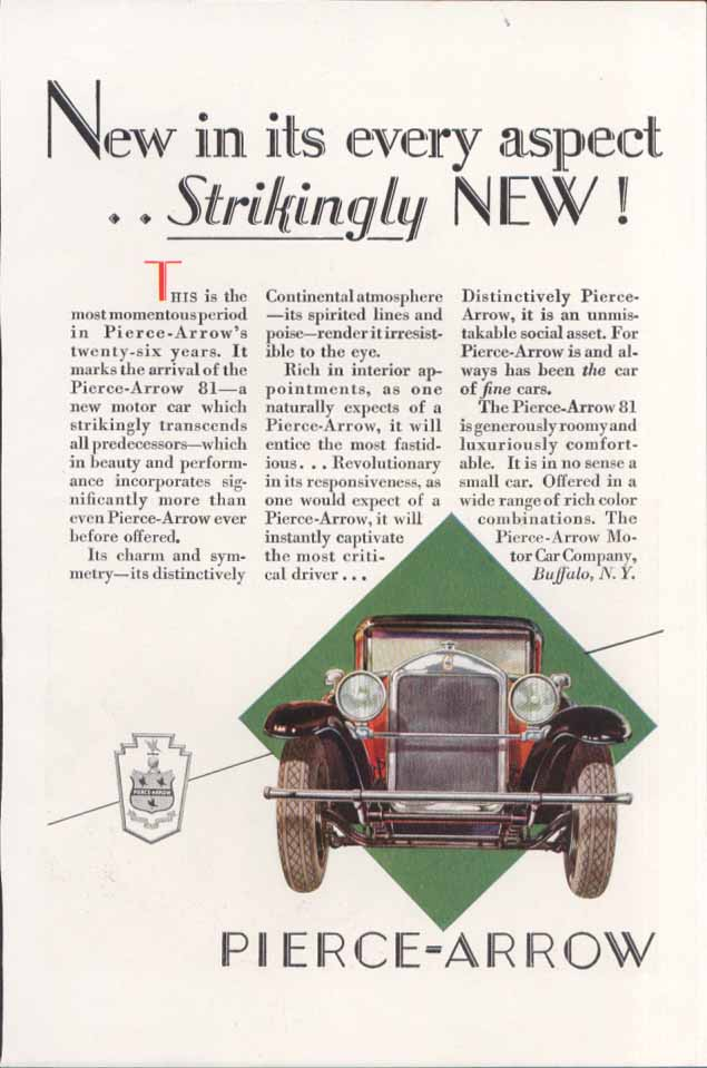 New in its every aspect Pierce-Arrow ad 1927