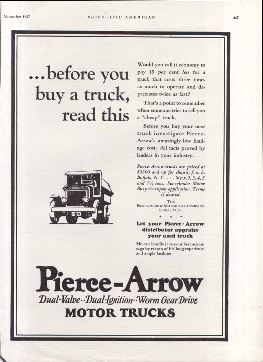 Before you buy a truck read this Pierce-Arrow ad 1927