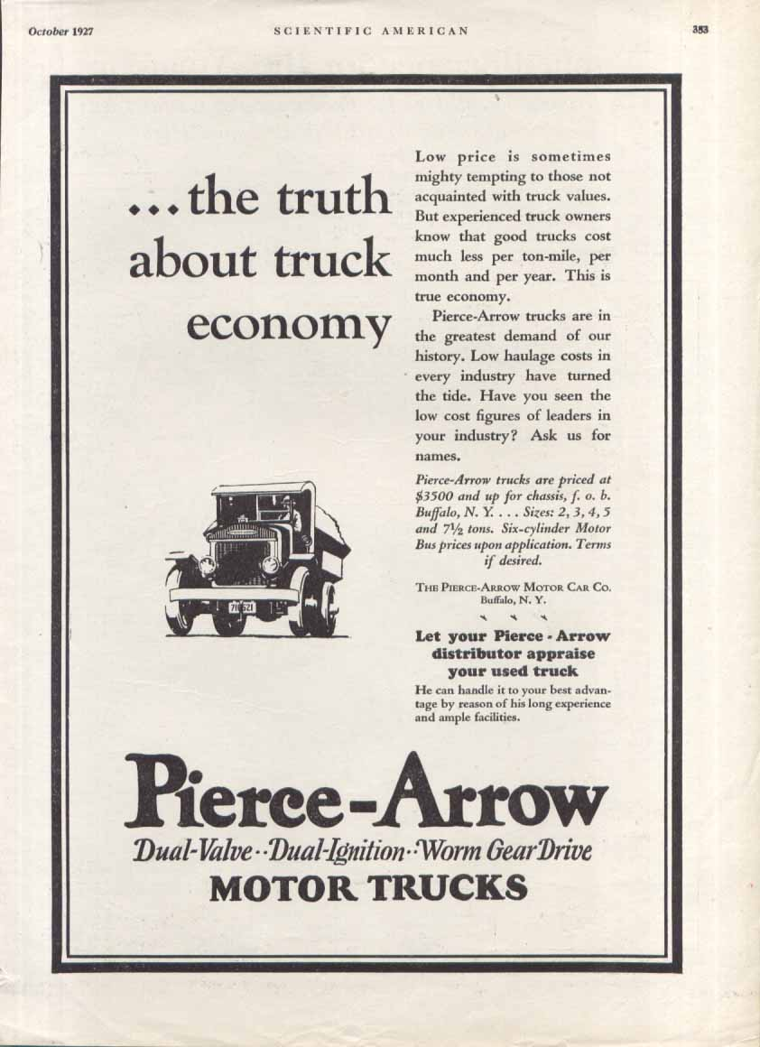 Image for Truth about truck economy Pierce-Arrow ad 1927