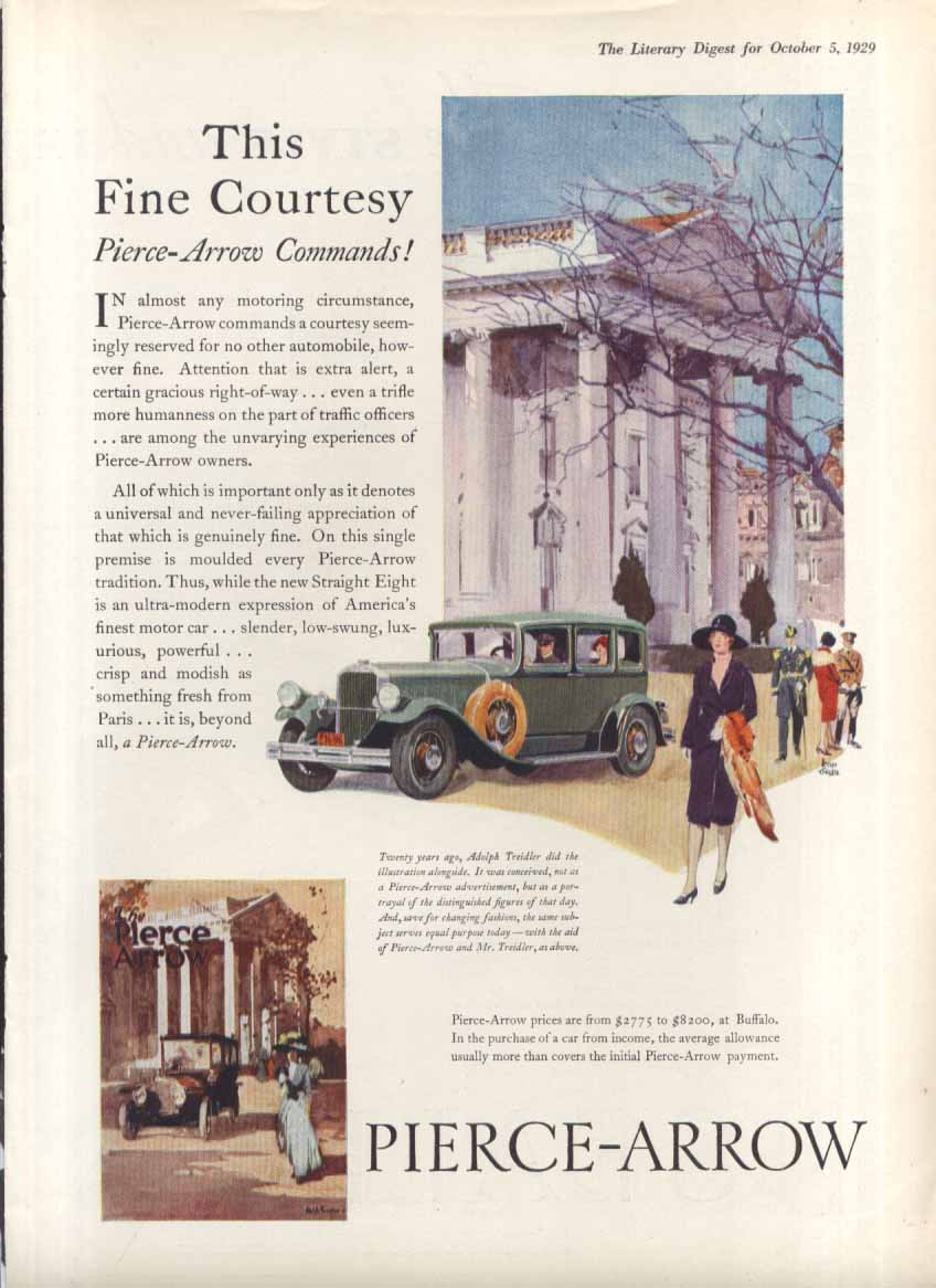 Image for This Fine Courtesy Pierce-Arrow Commands! Ad 1929