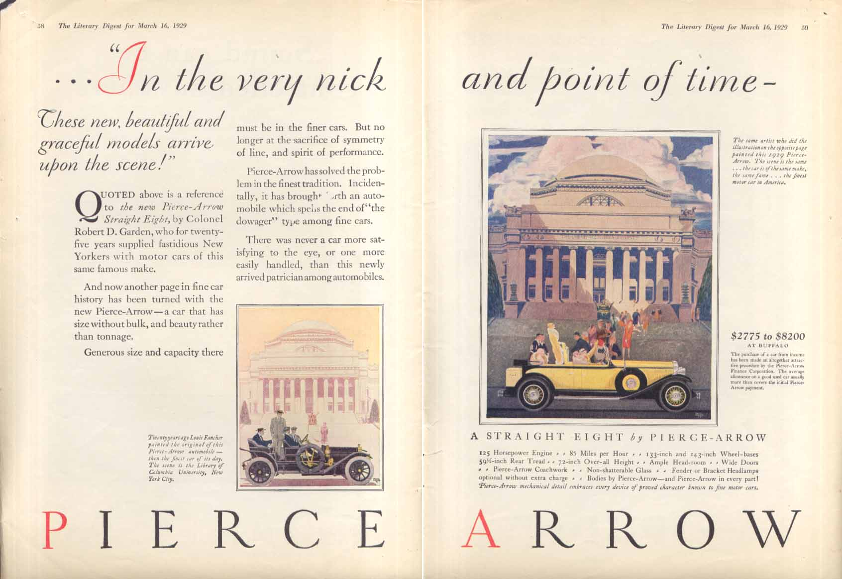 In the very nick & point of time Pierce-Arrow ad 1929 Literary Digest