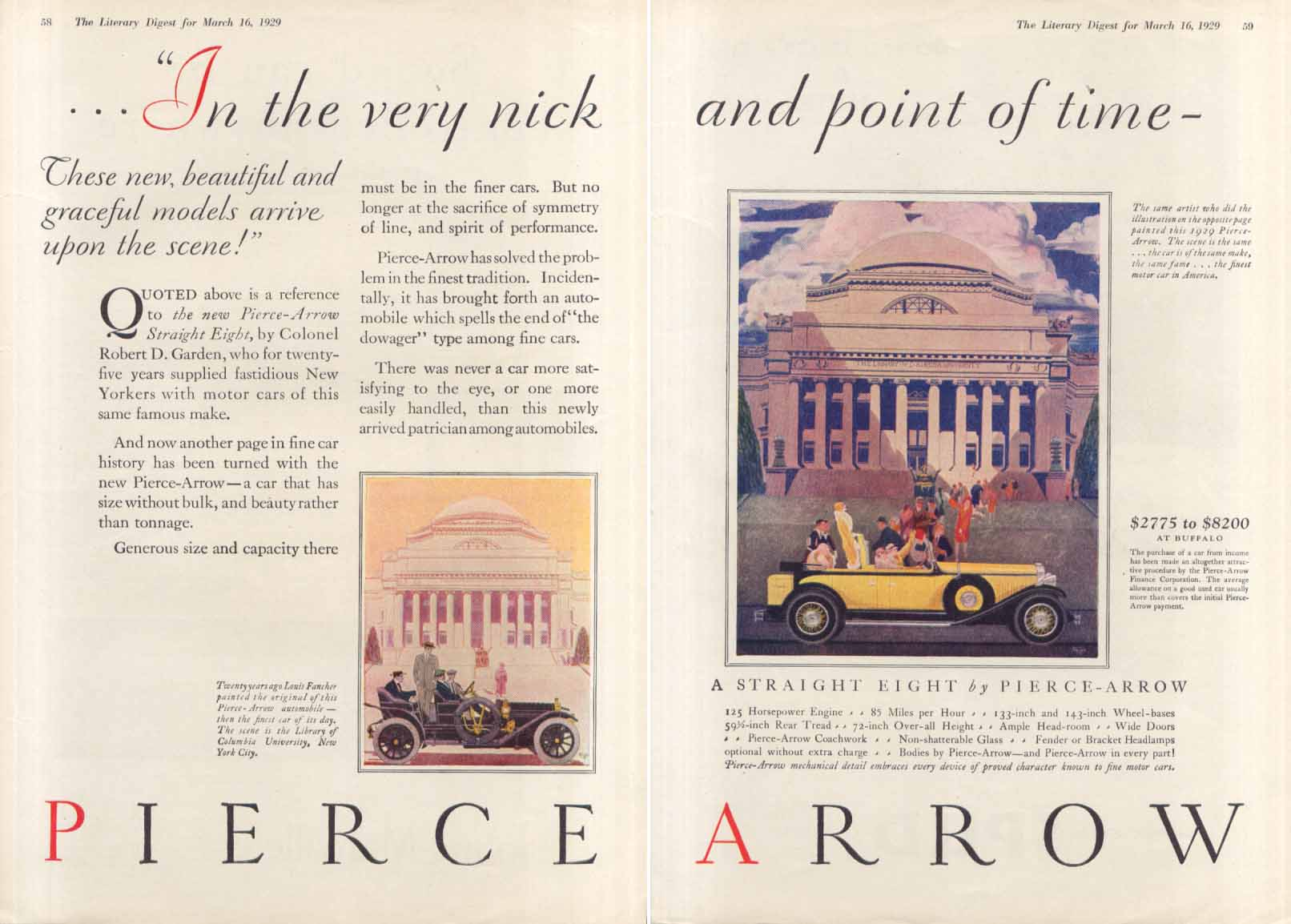In the very nick & point of time Pierce-Arrow ad 1929