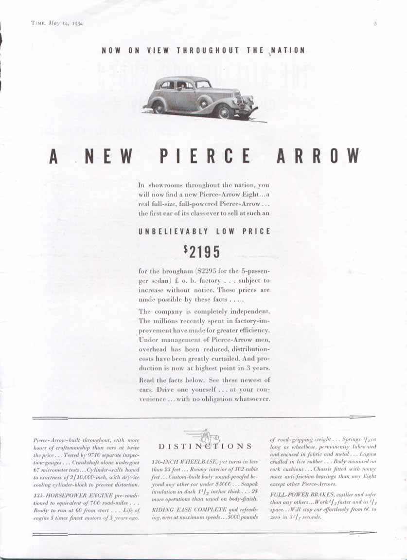 Now on View throughout the nation Pierce-Arrow ad 1934