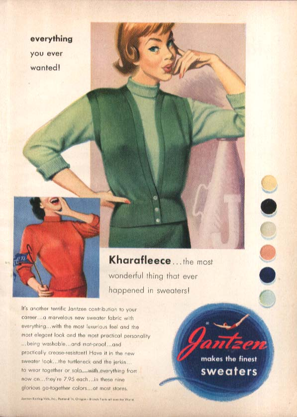 Kharafleece! Pete Hawley Jantzen pin-up ad 1950