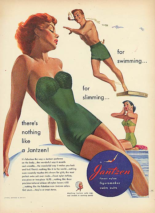 Image for Swimming or slimming Pete Hawley Jantzen pin-up ad 1951
