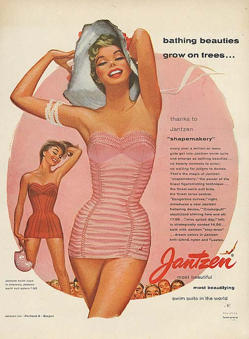 Beauties on trees Pete Hawley Jantzen pin-up ad 1955