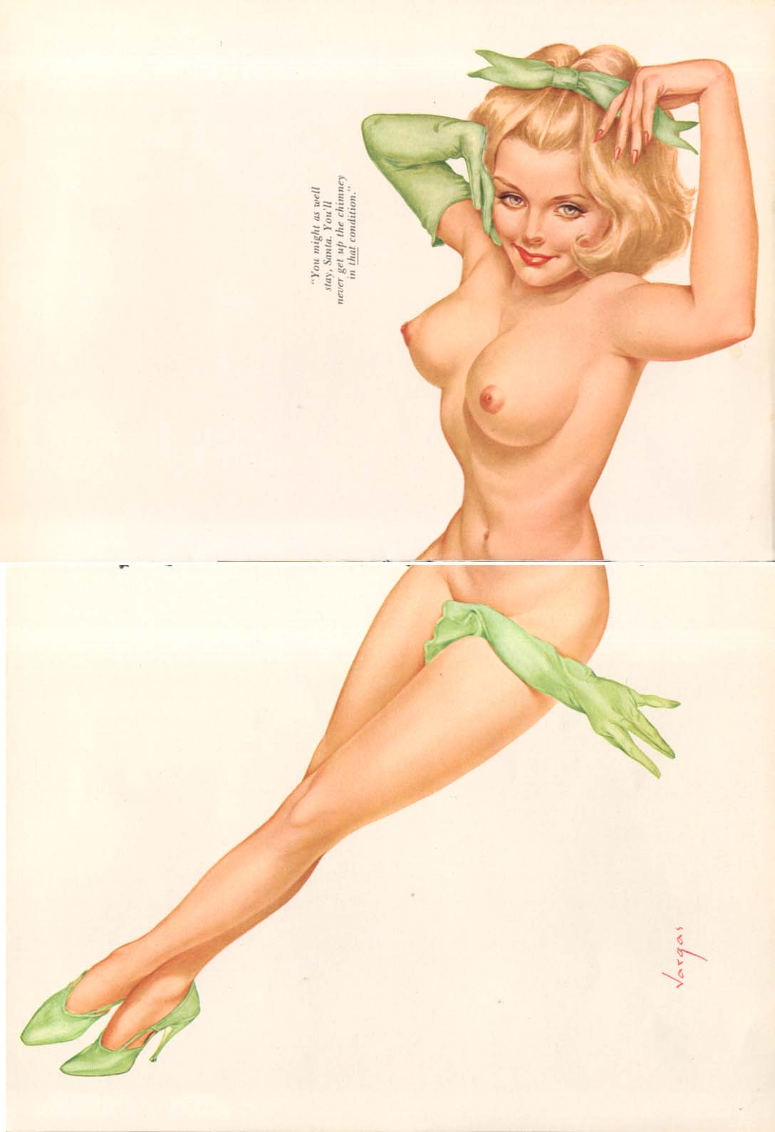 Image for You'll never get up chimney that way Vargas pinup 1968