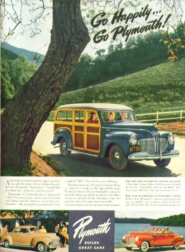 Image for Go Happily! Plymouth Station Wagon Coupe & Convertible ad 1941