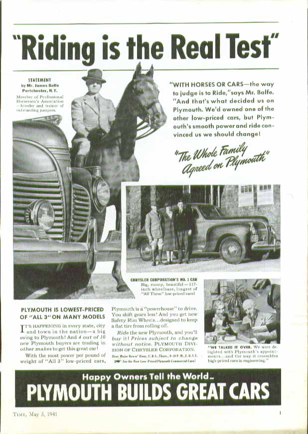 Image for Riding is the Real Test - Plymouth ad 1941