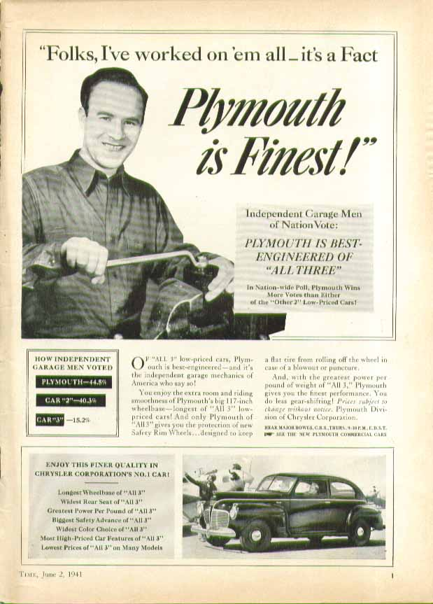 Image for Folks', I've worked on 'em all - it's a Fact - Plymouth is Finest! ad 1941